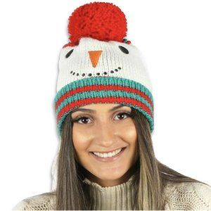 David & Young Snowman Knit Beanie Hat Ivory NEW